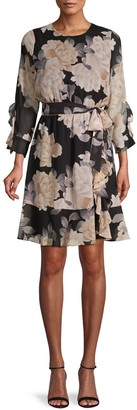 Calvin Klein Floral-Print Ruffled Belted Dress