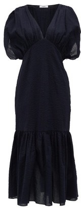 Marysia Swim Monetrey Ruched Seersucker-cotton Dress - Dark Blue