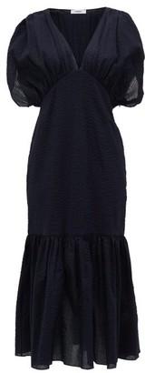 Marysia Swim Monetrey Ruched Seersucker-cotton Dress - Womens - Dark Blue