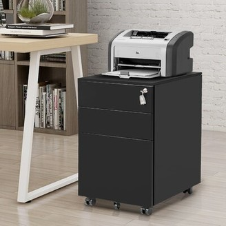 Inbox Zero TREXM 3-Drawer Mobile Lateral Filing Canbinet
