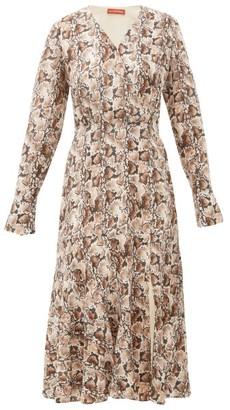Altuzarra Martha Snake-print Silk Midi Dress - Womens - Ivory