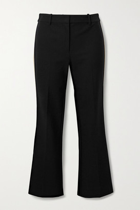 Derek Lam 10 Crosby Corinna Cropped Striped Stretch-cotton Twill Flared Pants - Black