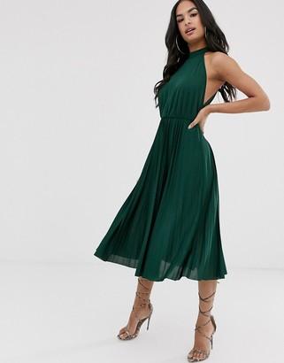 Asos DESIGN halter pleated waisted midi dress