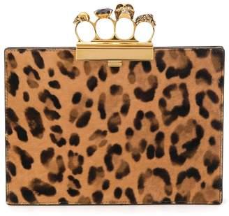 Alexander McQueen knuckle duster leopard clutch