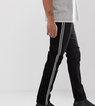 Heart N Dagger skinny jeans in black with side studs