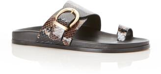 Marion Parke Cyrus Python-Print Buckle Slide Sandals