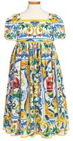 Dolce & Gabbana 'Majolica' Print Dress (Toddler Girls, Little Girls & Big Girls)