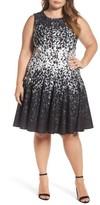 Eliza J Plus Size Women's Print Ponte Fit & Flare Dress