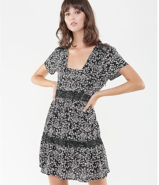Le Temps Des Cerises Printed Laced Mini Dress with Square-Neck and Short Sleeves