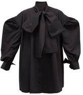 Elzinga - Tie-neck Balloon-sleeved Cotton-poplin Mini Dress - Womens - Black