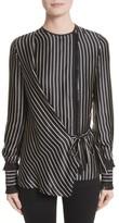 Yigal Azrouel Women's Fringe Trim Stripe Silk Wrap Blouse
