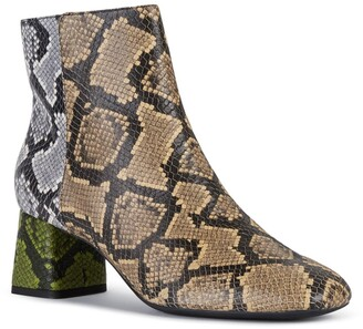 Geox Seyla Leather Snakeskin Embossed Ankle Boot