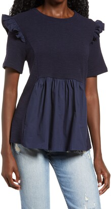 ENGLISH FACTORY Jersey & Poplin Ruffle Top