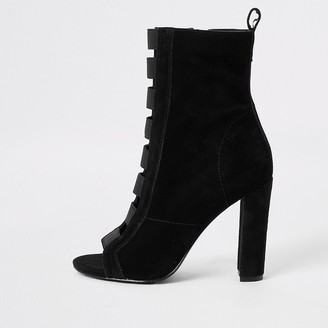 River Island Black suede elasticated heeled ankle boots