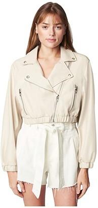 Blank NYC Cropped Moto Jacket (Chalk) Women's Clothing