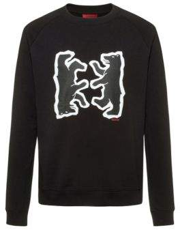 HUGO Relaxed-fit sweatshirt in French terry with bear motif