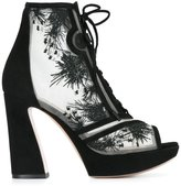 Nicholas Kirkwood 105mm 'Phoenix' lace-up booties - women - Leather/Suede/Nylon/Kid Leather - 36