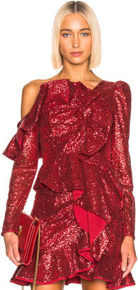 Self-Portrait for FWRD Sequin Frill Top in Red | FWRD