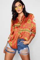 boohoo Alexis Scarf Print Oversized Shirt