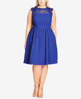 City Chic Trendy Plus Size Fine Lace Fit & Flare Dress