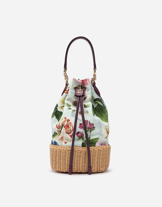 Dolce & Gabbana Small Millennials Bag In Canvas With Floral Print