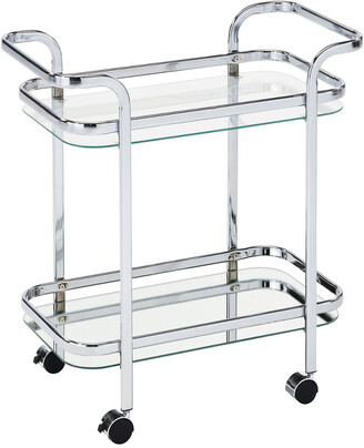 Worldwide Homefurnishings Worldwide Home Furnishings Zedd 2-Tier Bar Cart Chrome