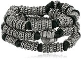 Ettika Men's Black Leather and Silver Colored Donut Beads Wrap Around Bracelet