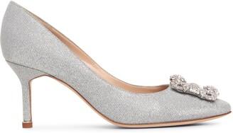 Manolo Blahnik Hangisi 70 silver glitter pumps