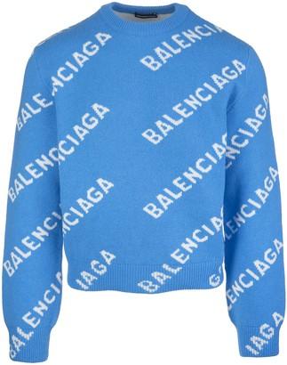 Balenciaga Light Blue Man Pullover With White Jacquard Logo
