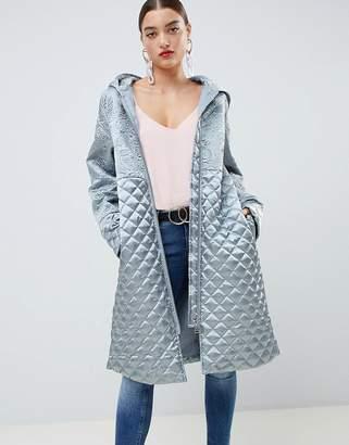 Asos Design DESIGN quilt padded satin jacket-Grey