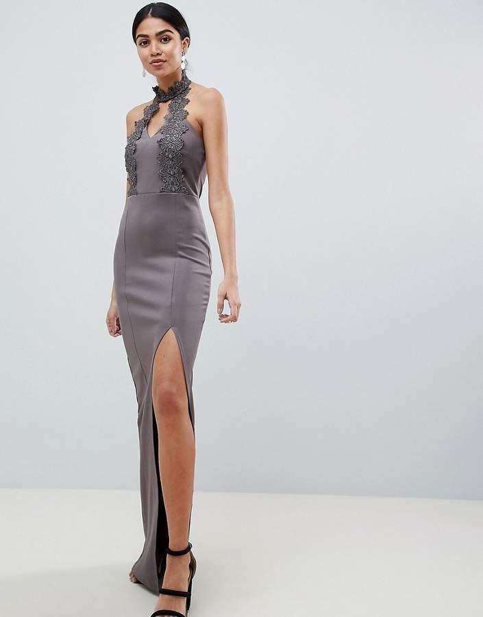 AX Paris Maxi Dress With Lace Detail & Side Split