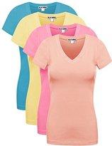 Ollie Arnes Women's 4 Pack Essential Cotton Short Sleeves Solid V-neck T-shirts SBLUE_BAN_BPNK_DPECH M