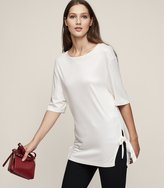 Reiss Hardy - Tie-side Crew-neck Top in White, Womens