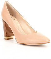 Isola Eleni Leather Pointed-Toe Slip-On Metal Accented Pumps
