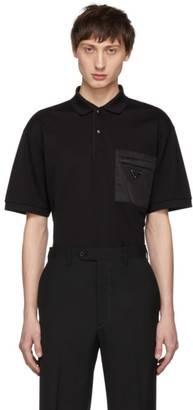 Prada Black Nylon Pocket Polo