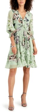 Thumbnail for your product : Taylor Petite Ruffled Faux-Wrap Dress