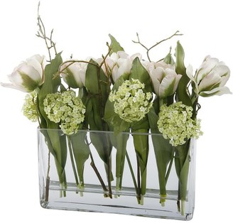 Pottery Barn Faux Tulip Arrangement In Square Glass Vase