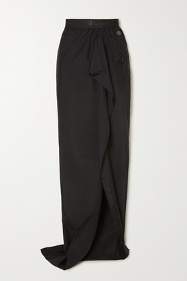 Rick Owens + Champion Ruffled Embroidered Shell Maxi Skirt - Black