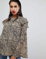 Neon Rose Blouse Will Bell Sleeves In Leopard