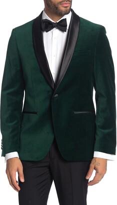 Savile Row Co Emerald Shawl Collar One Button Velvet Suit Separate Sport Coat