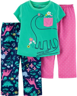 Carter's Toddler Girl 3 Piece Dinosaur Pajama Set