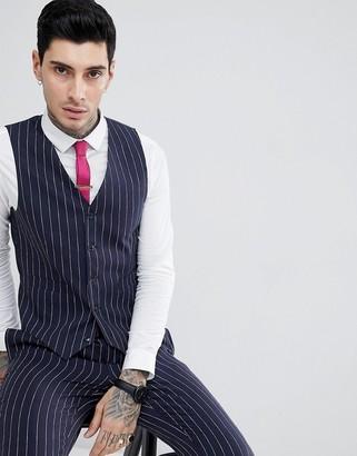 Gianni Feraud Skinny Fit Pinstripe Waistcoat