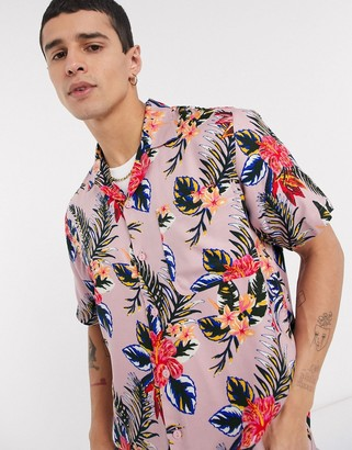 Dickies Shiloh short sleeve floral shirt in pink
