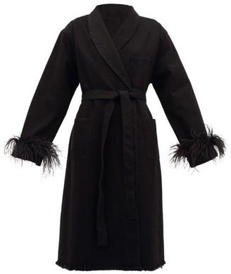 Marques Almeida Marques'almeida - Feather-cuff Denim Coat - Womens - Black