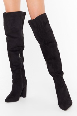 Nasty Gal Womens Looks Like We Faux Suede It Wide Fit Boots - Black