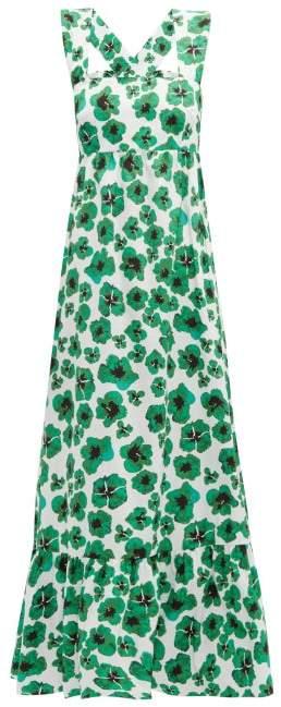 Borgo de Nor Mila Floral Print Cotton Poplin Maxi Dress - Womens - Green White