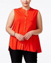 Calvin Klein Plus Size Sleeveless Pleated-Back Shirt