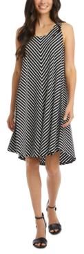 Karen Kane Mitered-Stripe High-Low Sleeveless Dress