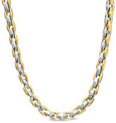 Zales Men's Link Necklace in Polished Two-Tone Stainless Steel - 24""