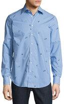 Etro Sea Creature Gingham Sport Shirt, Blue